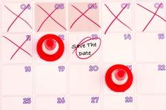 SAVE η ΗΜΕΡΟΜΗΝΊΑ στο ημερολόγιο για την έννοια χρονικών διαχείρισης καΠστοκ εικόνα