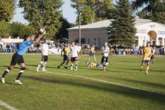 Save. SLOVIANSK, UKRAINE - 21 SEPTEMBER 2011: Match of 1/16 Datagroup Cup of Ukraine between Slovkhlib Sloviansk vs Zoria Luhansk on 21 September 2011 in Stock Photos