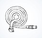 Fire hose. Vector drawing. 911 save attack pipeline on white backdrop. Freehand line black ink hand drawn emblem logo sketchy in retro art scribble cartoon style Royalty Free Stock Photo