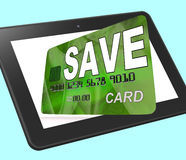 Save Bank Card Calculated Means Setting Aside Money In Savings A Royalty Free Stock Photos