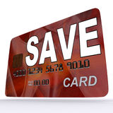 Save Bank Card Means Setting Aside Money. Save Bank Card Meaning Setting Aside Money In Savings Account Royalty Free Stock Images