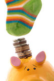 Save in the bank or hide in the socks Stock Photo