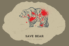 Save bear. Save wildlife. Save bear save wildlife. Gun shot with blood over bear Stock Photography