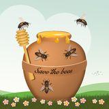 Save the bees from the planet. Illustration of save the bees from the planet vector illustration