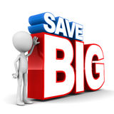 Save big. Words on a white clean background, little man standing by royalty free illustration