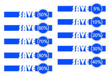 Save in blue and white. For business and market Stock Photos