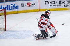 Save Brodeur. Devils' goalie Martin Brodeur makes a kick save at MSG. The Rangers shut out the Devils 3-0. Martin recently broke the NHL record for most wins by Stock Photos