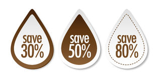 Save on brown stickers Stock Photos