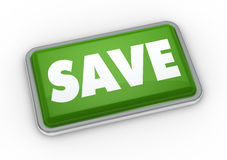 Save button. One green button with the word save (3d render Stock Photos