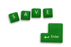 Save button on green keyboard for good thing Royalty Free Stock Images