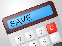 Save Calculator Represents Calculation Financial And Invest. Save Calculator Showing Calculation Cash And Finances Royalty Free Stock Photo