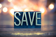 Save Concept Metal Letterpress Type Royalty Free Stock Photography