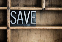 Save Concept Metal Letterpress Word in Drawer Royalty Free Stock Photo