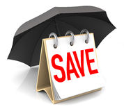 Save. Save Consept with Umbrella. 3D Rendering Royalty Free Stock Photography