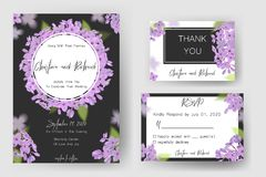 Save daktylową kartę, ślubnego zaproszenie, kartka z pozdrowieniami z pięknymi kwiatami i listy, Obrazy Royalty Free