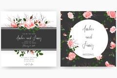 Save daktylową kartę, ślubnego zaproszenie, kartka z pozdrowieniami z pięknymi kwiatami i listy, Obrazy Stock
