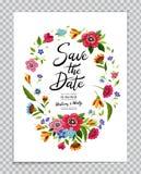 Save Daktylową kartę z kwiatu wiankiem i kaligrafii Save data Ślubny zaproszenie z literowaniem w kwiat ramie Obrazy Stock