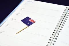 Save daktylowego dzienniczka czasopismo dla Stycznia 26, Australia dnia wakacje. Zdjęcia Stock
