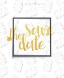 Save daktylowego eleganckiego nakreślenia tło z ramą, kaligrafia, marshmallows Zdjęcia Royalty Free