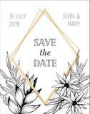 Save daktylowego szablonu projekt z ręka rysującym kwiatu intitation Obrazy Royalty Free