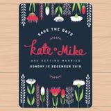Save datę, ślubna zaproszenie karta z ręka rysującym kwiatem kwiecistym Kwiatu kwiecisty tło Zdjęcie Stock
