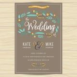 Save datę, ślubna zaproszenie karta z ręka rysującym wianku kwiatu szablonem Kwiatu kwiecisty tło Obraz Royalty Free