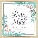 Save datę, ślubna zaproszenie karta z ręka rysującym wianku kwiatu szablonem Kwiatu kwiecisty tło ilustracji