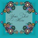 Save datę, ślubny zaproszenie karty szablon dekoruje z kwiatu wiankiem ilustracji