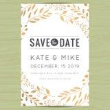 Save datę, ślubny zaproszenie karty szablon z złotego kwiatu kwiecistym tłem Obrazy Royalty Free