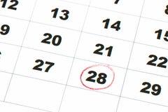 Save datę pisać na kalendarzu - 28, okrążający w czerwonej ocenie Zdjęcie Royalty Free