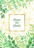 Save datę z Geometryczną ramą i Greenery Zdjęcia Royalty Free