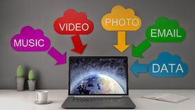 Save data and music and photos online with cloud computing Royalty Free Stock Image