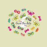 Save the date. Invitation design with colorful butterflies Stock Photography