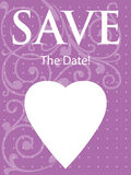 Purple Save The Date Announcement. This is a vertical abstract illustration for a Save The Date Announcement or Invitation Stock Images