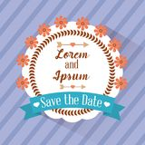 Save the date badge flower stripes background. Vector illustration Royalty Free Stock Photo