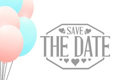 Save the date balloons sign illustration design Stock Image