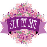Save the date banner. Elegant floral save the date banner, design element. Floral compositions can be used for wedding, baby shower, mothers day, valentines day Royalty Free Stock Photos