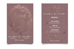 Save the date. Beautiful vintage invitation with golden floral print Royalty Free Stock Photos