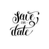 Save the date black and white hand lettering inscription typogra Royalty Free Stock Photography