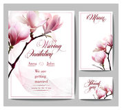 Save The Date with blooming Magnolia. Wedding Invitation Card Vector illustration. Royalty Free Stock Photo