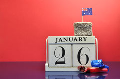 Save the Date calendar for Australia Day, January 26. Mark the date, Australia Day January 26, with this beautiful white calendar clock with Australian lam Stock Photos