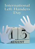 Save the Date calendar for International Left Handers Day with Title Text Royalty Free Stock Photo