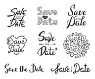 Save the date calligraphy phrases. Unique lettering. Set of vector hand drawn typography design element for greeting cards or invitations. Save the date Royalty Free Stock Images