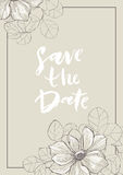 Save the date card with anemone. Vector vintage Save the Date with anemone. Detailed graphic drawing. Great for wedding invitations, birthday, valentine`s, save Stock Photo