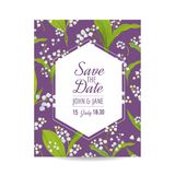 Save the Date Card with Blossom Lily Valley Flowers. Wedding Invitation, Anniversary Party, RSVP Floral Template. Vector illustration Stock Image
