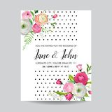 Save the Date Card with Blossom Pink Flowers and Lily. Wedding Invitation, Anniversary Party, Decoration, RSVP Floral. Template. Vector illustration Royalty Free Stock Photos