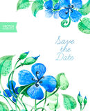 Save The Date Card with blue watercolor flowers Stock Photos