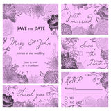 Save the date card collection with flowers. Wedding invitation, thank you card, save the date cards, RSVP card. Stock Photography