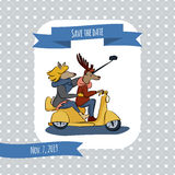 Save the date card with a couple of lovers reindeer rides a scooter and makes the self-picture. Hand drawn characters Royalty Free Stock Photography