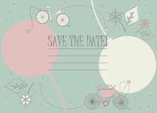 Save the date card with cute bicycles, balloons and flowers Stock Photos